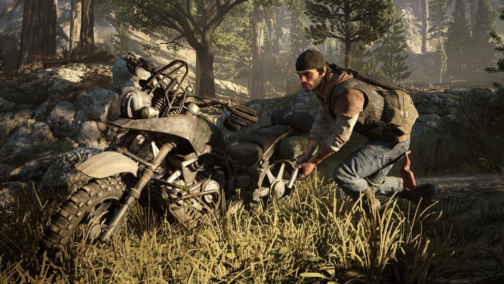 探索中にバイクを発見したら、乗ることが可能。